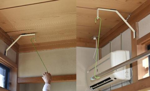 スーパーラックがしっかり固定された(動かない程度)のを確認して、お好みの長さのフックをひっかけて、物干しざおを架けます。